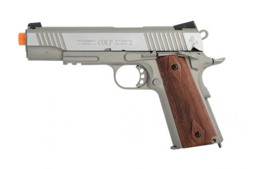 COLT 1911 .45 ACP CO2 RAIL GUN BLOWBACK AIRSOFT PISTOL, STAINLESS 180530