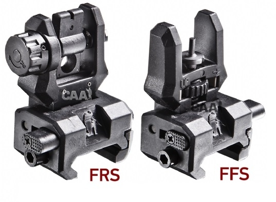 Low profile rear & front flip-up sights. Alum+poly made.